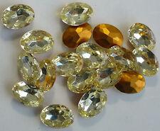 12 Vintage Glass Rhinestones Oval Jonquille Yellow TTC Foil Germany 18x13mm D2-6