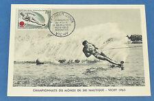 CPA PHILATELIE CHAMPIONNATS DU MONDE SKI NAUTIQUE VICHY 1963 SPORT COMPETITION
