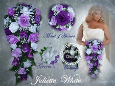 12 pc Wedding Cascade Bouquet Package Purples Lavender White Roses w/Jewels