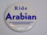 Ride Arabian Horses Pin Vintage Old Metal Button Round Pinback Horseback Rider