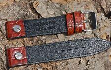 Golden tan Alligator Grain Leather 18mm open ends English Aviator pilot's band