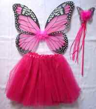 HOT PINK MONARCH BUTTERFLY WING 3pcs SET: TUTU, WING & WAND~GIRL DRESS UP