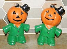 Vintage Gurley ? Pair Halloween Candles Scarecrow Pumpkin Head Man Cute Kitschy