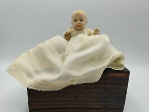 Antique Celluloid Dupont Viscoloid USA Jointed Baby Doll Muslin Dress Lace