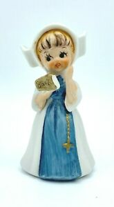 """Vintage Childlike Nun Figurine with White and Blue Habit Bible and Rosary 4"""" T"""