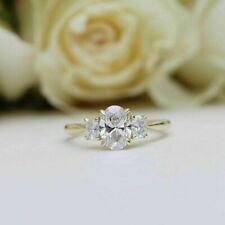 14k Yellow Gold 2.50 ct Oval Cut Diamond Engagement Ring Hallmark Fine Ring