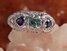 .36 Ct. Emerald Cut Columbian Emerald & Sapphire Ring Sterling Silver Filigree