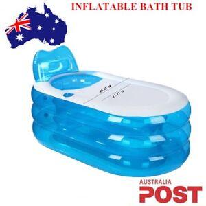 Portable Adult Child Inflatable Blowup Bath Tub PVC Spa Warm Bathtub Blue Sale