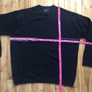 London Fog Long Sleeve Pull Over Black Wool Blend Sweater XXL