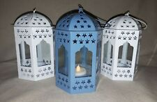 Beautiful Vintage Style French/Moroccan Tea Light Lantern Blue or White
