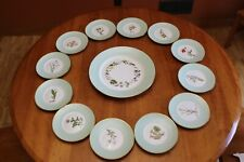 Royal Copenhagen 12 Vintage Flower Plates with Charger Mint Green Band 1949-1955