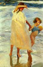 "Oil painting las dos hermanas two sisters by beach Joaquin Sorolla y Bastida 36"""