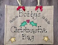 Personalised Glitter Jute Gift Christmas Eve Large Bag