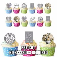 PRE-CUT Silver 25th Wedding Anniversary 36 Edible Cup Cake Toppers Decorations