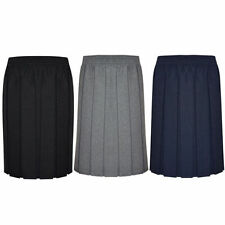 Girls/Ladies/Womens Skirt School Office Uniform Box Pleated Elasticated waist
