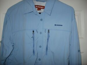 Simms Men's 3X Dry Fly Fishing Long Sleeve Button Up Shirt Medium