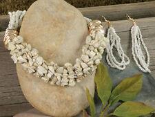 NECKLACE SET Ivory/Gold/White Natural Stone Chips Seed Beads Designer Stone Set