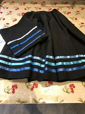 """Ballet Character Skirt Black Full Circle with Blue Ribbons W 24"""" L 26"""" - Perfect"""