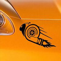 Adesivo sticker TURBO SNAIL vinile auto car tuning race lumaca arrabbiata NERO