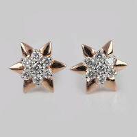 Solid 14k Rose Gold Stud Earrings Pave Natural Diamond Fine Jewelry NEW ARRIVALS