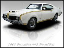 1969 Hurst Oldsmobile 442 Metal Sign: Fully Restored in Brilliant White & Gold