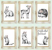 Nursery Wall Art Print Boho Woodland Animals Fox Grey Floral Baby *3FOR2*