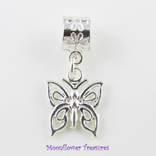 Shiny Silver Plate Filigree Butterfly Charm fit European Bracelet