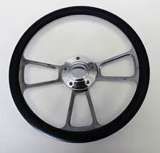 "14"" Navy Blue Grip Billet Steering Wheel Wheel Polished Adapter Shallow Dish"