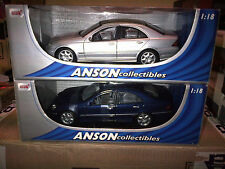 SET OF 2 MODELS 2000 MERCEDES-BENZ C CLASS SILVER & BLUE ANSON  1:18 NEW IN BOX