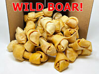 "American Wild Boar Small 4""-5"" Pork Skin Bone Dog Chews l 32 Count Bulk l"