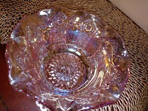 VINTAGE & STUNNING PINK CARNIVAL GLASS BOWL, MINT CONDITION