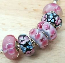 Exotic Flowers Pink Lavender Black Blue Single Core European Murano Glass Beads