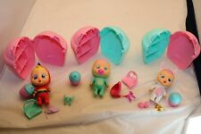 Lot Of 3 Cry Babies Magic Tears Doll By IMC Toys Turtle, Bunny, Parrot w/ etc