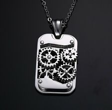 men boys Titanium Stainless Steel Machine Gear Necklace Pendant Gift for Him