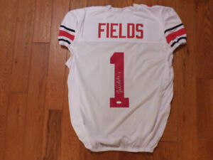 Justin Fields Signed Ohio State Custom Game Cut White Jersey Size XL JSA