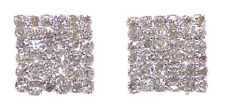 Magnificent Diamanté Encrusted Diamond Shaped Sleek Metal Stud Earrings(Ns19)