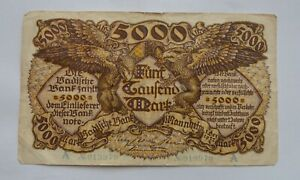 GERMANY 5000 MARK 1922 OLD BANKNOTE