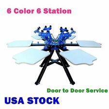 6 Color 6 Station Silk Screen Printing Double Rotary T Shirt Press Printer Usa