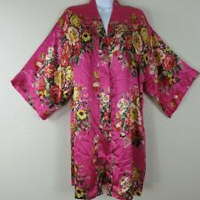 New Ms Lovely Hot Pink Floral Kimono Short Robe M/L Satin Like Poly w/ Pockets