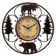 Moose Wall Clock Wildlife Rustic Decor Home Lodge Cabin 11 Inch Bear Gift New