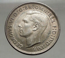 1944 AUSTRALIA - FLORIN Large SILVER Coin King George VI Coat-of-Arms i56695