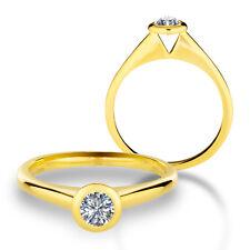585 Gold Verlobungsring Antragsring Solitär Frauen Ring Zirkonia Brillant VJC17