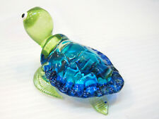 Aquarium MINIATURE HAND BLOWN Art GLASS Blue Sea Turtle FIGURINE Thailand