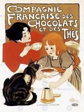 TEA CHOCOLATE DRINK PARIS FRANCE CAT VINTAGE RETRO ADVERTISING POSTER 1522PY