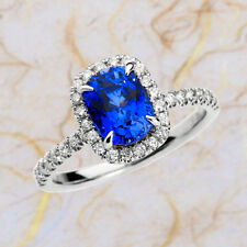 2.60 CT Sapphire Gemstone Diamond Ring Fine 14K White Gold Rings Size O,J Sales