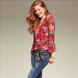 CAbi DEVOTED Red Floral Blouse Bell Sleeves Flowy #3590 Size S