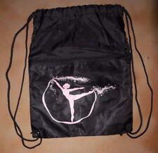 NWOT  Drawstring Lightweight  Backpack Black Dance Bag Pink Dancer