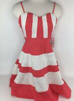 Love Point Womens Size M Medium Laced Coral White Striped Retro Dress NWT