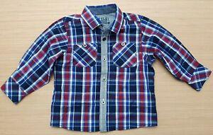 MATALAN Baby Boys Red Blue Long Sleeve Check Shirt 100% Cotton 9 - 12 Months