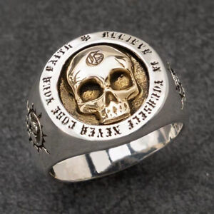 Vintage Men Two Tone 925 Silver Skull Ring Cool Gothic Punk Jewelry Size 12